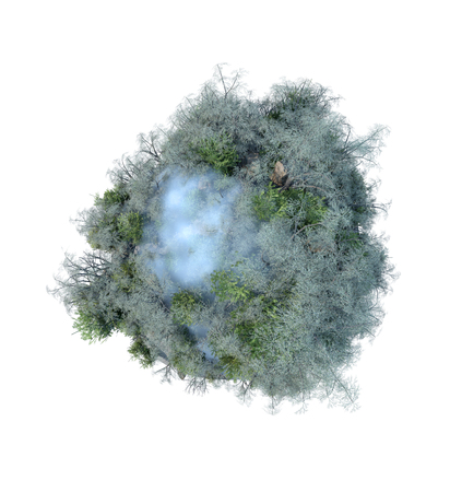 green little planet earth: 3D illustration of planet with cloud and winter trees Stock Photo