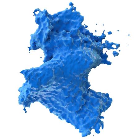 amorphous: 3D illustration of liquid splash motion on white background