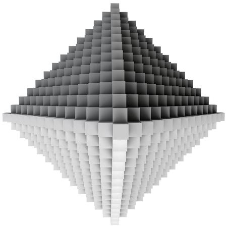rhomb: 3D illustration of three-dimensional rhomb object consists of cubes