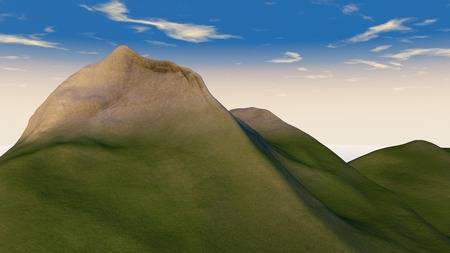 3D illustration of green mountain on blue sky background