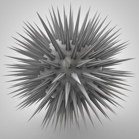 3d ball: 3D illustration of ball structure with spikes Stock Photo