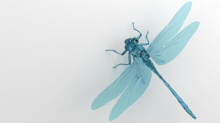 translucent: 3D illustration of dragonfly close up model Stock Photo