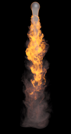 catastrophic: 3D illustration of explosion fire cloud on black background