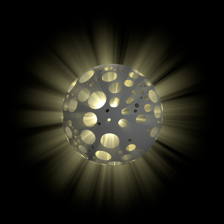 3D illustration of hollow ball with shine inside on black background Stock Photo