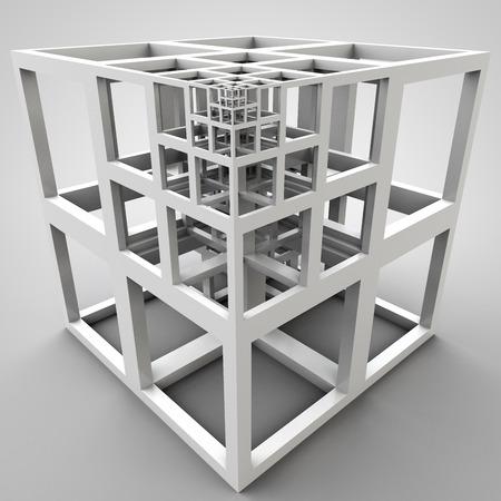 carcass: 3D illustratie van abstracte karkas kubus bouw