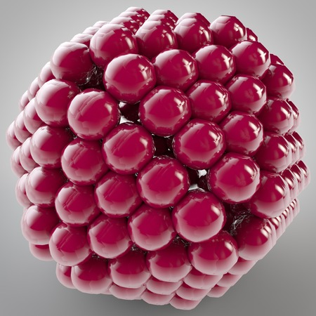 organised: 3D illustration of shape object consists of balls close together Stock Photo