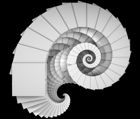 logarithmic: 3D illustration of spiral object like staircase