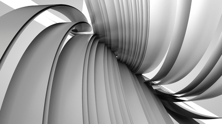 elastic: 3D illustration of abstract figures made of elastic ribbons Stock Photo