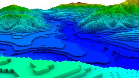 3D illustratie van het terrein oppervlaktestructuur eruit ziet topografiekaart Stockfoto