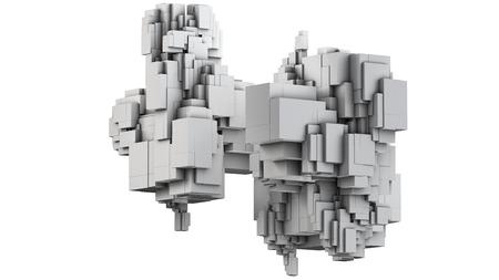 consist: 3D illustration of three-dimensional model consist of blocks
