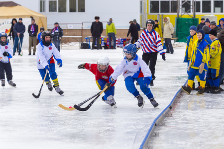 bandy: RUSSIA, KOROLEV- FEBRUARY 18, 2017: Bandy tournament in honor of the local famous coaches was held for the first time in Korolev, Russia