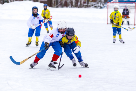 bandy: RUSSIA, KRASNOGORSK - JANUARY 21, 2016: 2-nd stage of Childrens hockey League bandy, Russia.