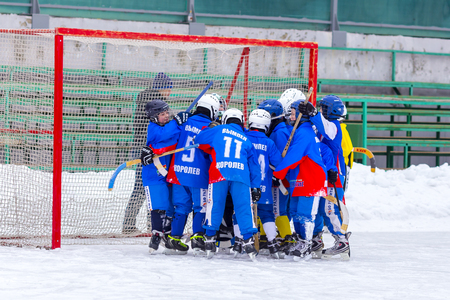 bandy: RUSSIA, OBUKHOVO- FEBRUARY 19, 2016: 3-d stage of Childrens hockey League bandy, Russia. Editorial