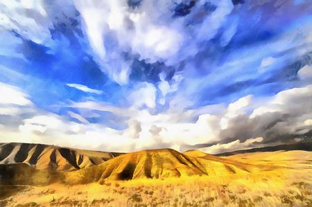 View of Caucasus mountains colorful painting Foto de archivo