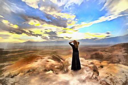View of Ararat valley with standing woman alone on foreground Stock Photo