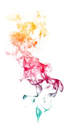jet stream: Humo de fantasía de colores sobre fondo blanco