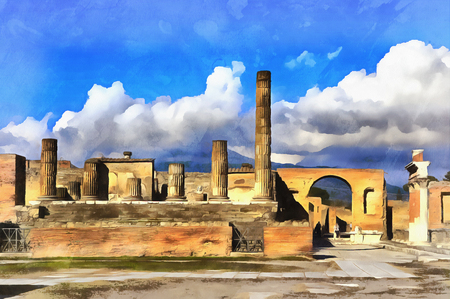 pompeii: Colorful painting of Forum