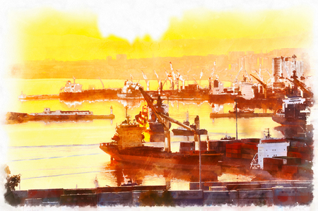 Colorful painting of Trade port Stock Photo