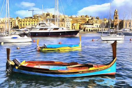 Colorful painting of boats in marine