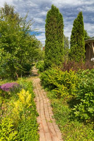 entrance arbor: View on home green garden