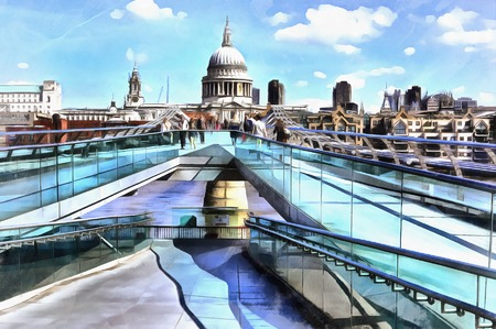 Colorful painting of cityscape view of St. Pauls Cathedral from Millennium Bridge Banco de Imagens