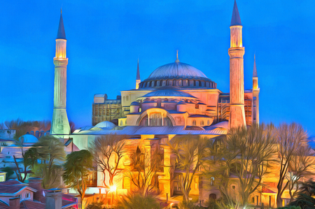byzantine: Colorful painting of Blue Mosque