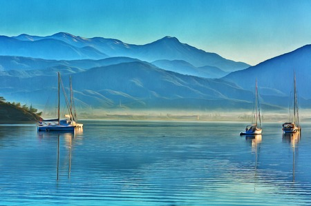Colorful painting of anchored yachts at misty morning