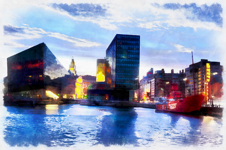 Colorful panting of modern city buildings