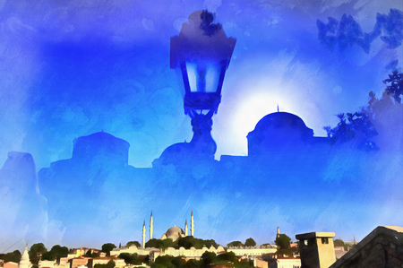minaret: Colorful painting of cityscape reflected in window Stock Photo