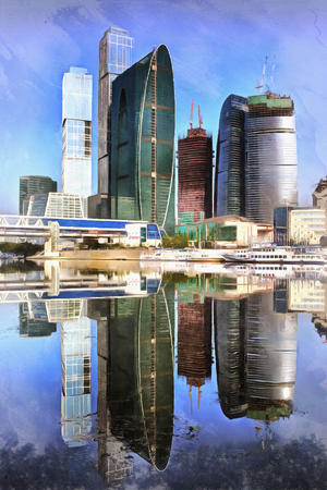 Colorful painting of Moscow International Business Center