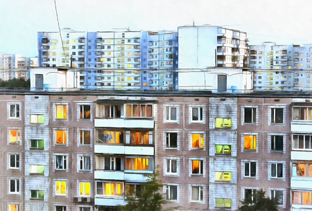 condominium: Urban landscape with typical condominium colorful painting