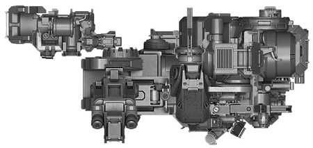 enginery: 3d illustration of abstract industrial equipment technology