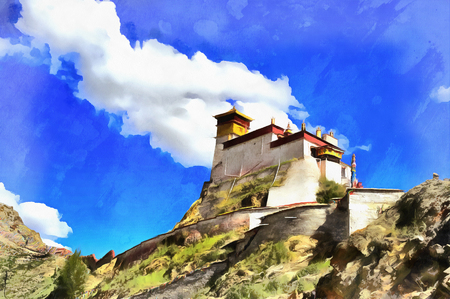 Colorful painting of Yumbu Lakhang Palace Stock Photo