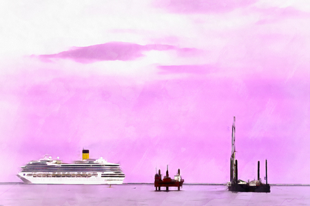 Colorful painting seascape with cruise ship