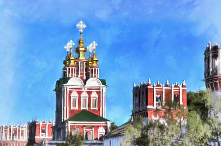 abbey: Colorful painting of Novodevichy Convent