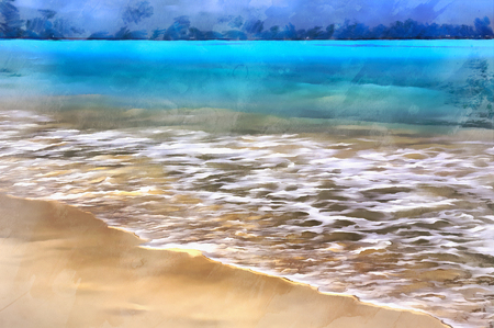 cancun: Sea beach landscape colorful painting Stock Photo