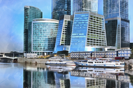 moscow city: Colorful painting of modern Business Center