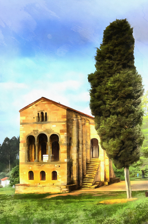 9th: Colorful painting of Church of St Mary at Mount Naranco Stock Photo
