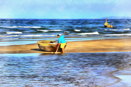 Travitional ベトナムのボートのカラフルな絵画
