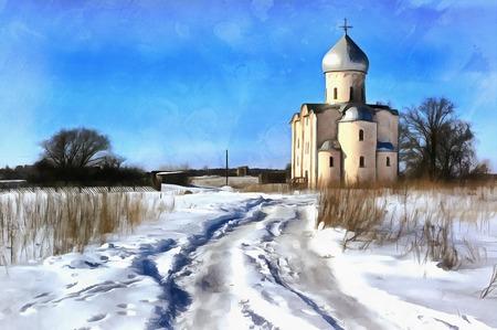 Colorful painting of Saviour Church on Nereditsa Hil