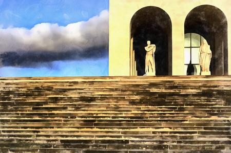 Colorful painting of Palazzo della Civilta Italiana Stock Photo