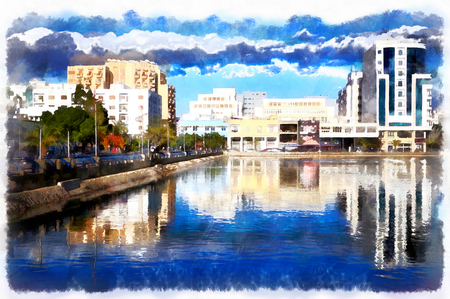 Colorful painting of modern buildings with water on foreground Stock Photo