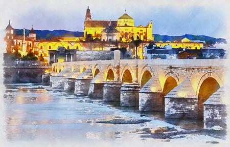 Pintura colorida de la catedral Mezquita y puente romano al atardecer Foto de archivo - 76653527