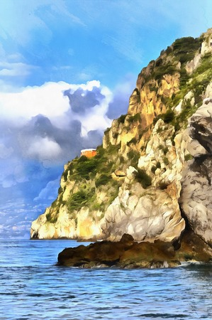 Beautiful seascape with cliff colorful painting