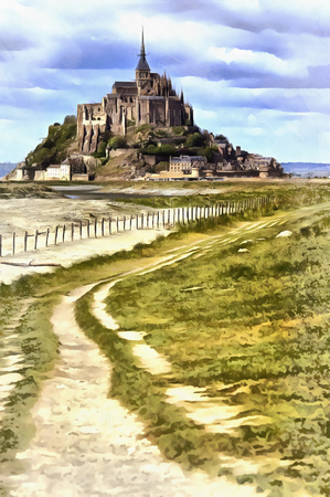 Colorful painting of Mont Saint Michel, Stock Photo