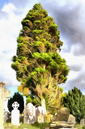 eire: Colorful painting of cypress tree with old cemetery irish crosses