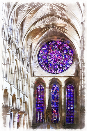 western town: Colorful painting of Cathedral of Our Lady of Laon