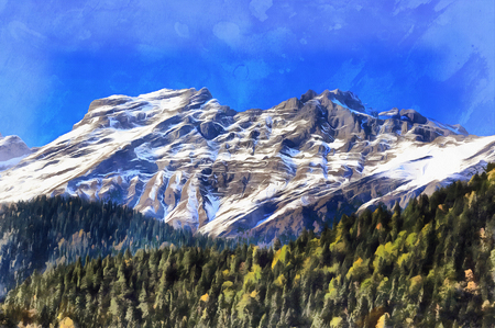 Colorful painting of Caucasus mountains