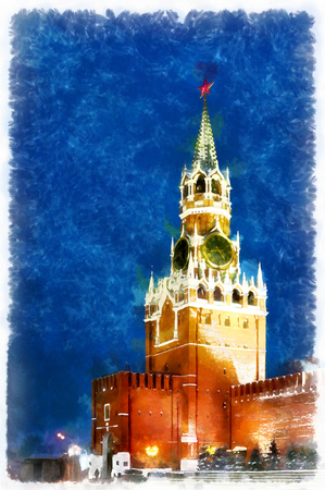 red square moscow: Red square and Kremlin at night colorful painting Stock Photo