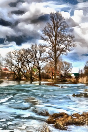Colorful painting of lake under ice Stock Photo
